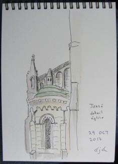 Janzé détail église A5 pigment liner and watercolour #inktbober2017
